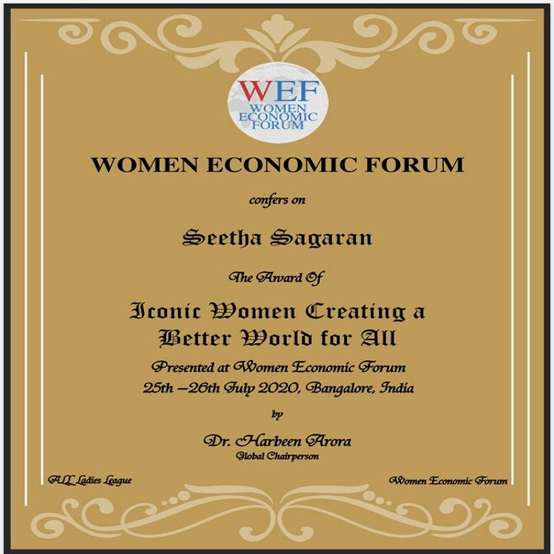"Received the ""Iconic Women Creating a Better World for All"" Award at the Digital Summit WEF Bangalore, (July 2020)."