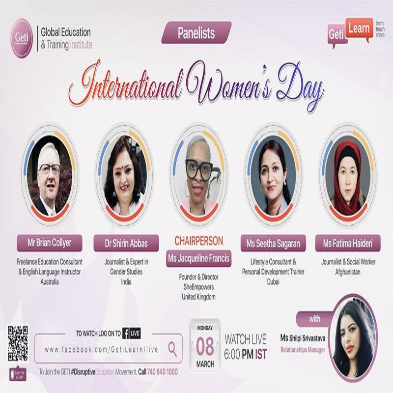 India's Global Education & Training Institute's (GETI) International Women's Day online event