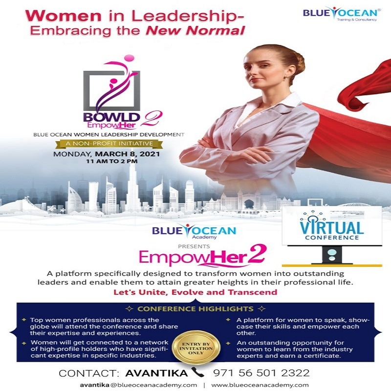 speaker at the Blue Ocean Women Leadership Development (BOWLD) EmpowHer Conference on March 8, 2021.
